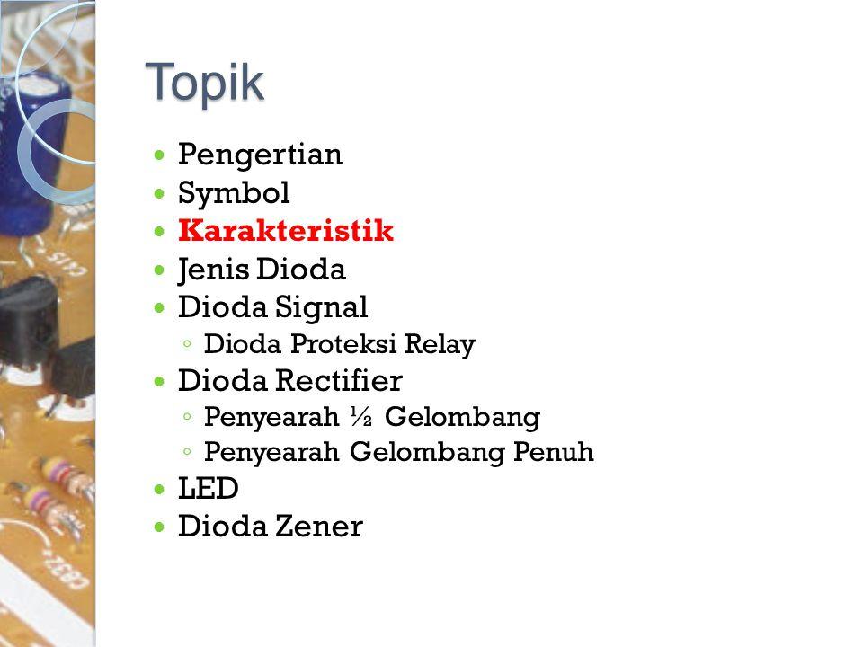 Topik Pengertian Symbol Karakteristik Jenis Dioda Dioda Signal ◦ Dioda Proteksi Relay Dioda Rectifier ◦ Penyearah ½ Gelombang ◦ Penyearah Gelombang Pe