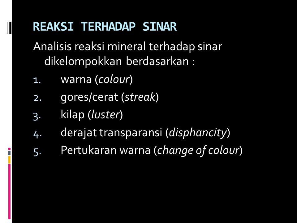 REAKSI TERHADAP SINAR Analisis reaksi mineral terhadap sinar dikelompokkan berdasarkan : 1. warna (colour) 2. gores/cerat (streak) 3. kilap (luster) 4
