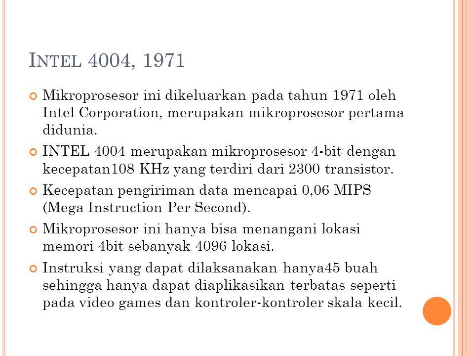 I NTEL 4004, 1971 Mikroprosesor ini dikeluarkan pada tahun 1971 oleh Intel Corporation, merupakan mikroprosesor pertama didunia.