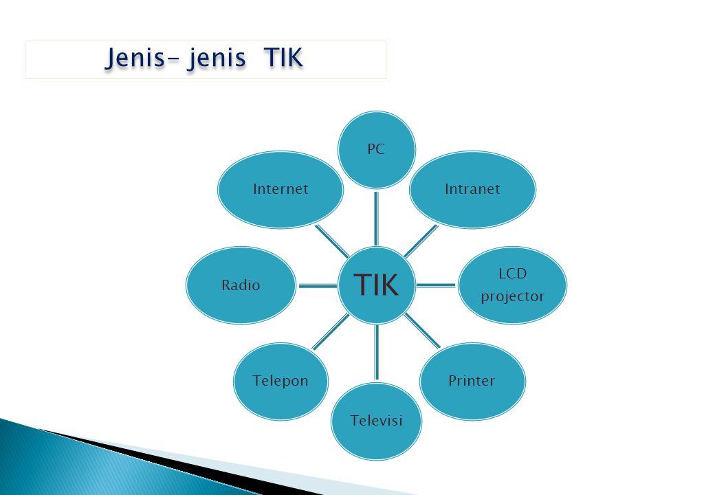 TIK PCIntranet LCD projector PrinterTelevisiTeleponRadioInternet Jenis- jenis TIK
