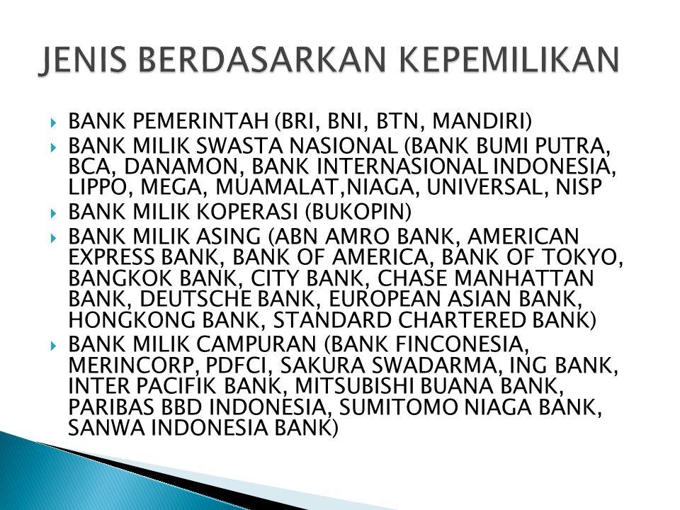  BANK PEMERINTAH (BRI, BNI, BTN, MANDIRI)  BANK MILIK SWASTA NASIONAL (BANK BUMI PUTRA, BCA, DANAMON, BANK INTERNASIONAL INDONESIA, LIPPO, MEGA, MUA