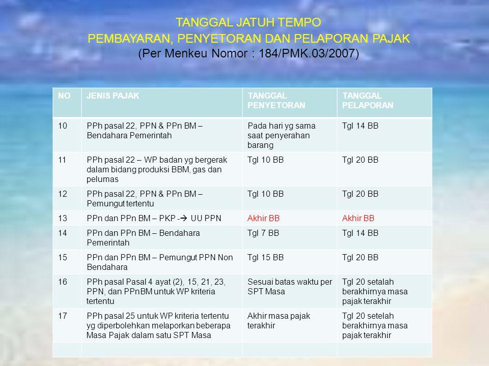 TANGGAL JATUH TEMPO PEMBAYARAN, PENYETORAN DAN PELAPORAN PAJAK (Per Menkeu Nomor : 184/PMK.03/2007) NOJENIS PAJAKTANGGAL PENYETORAN TANGGAL PELAPORAN