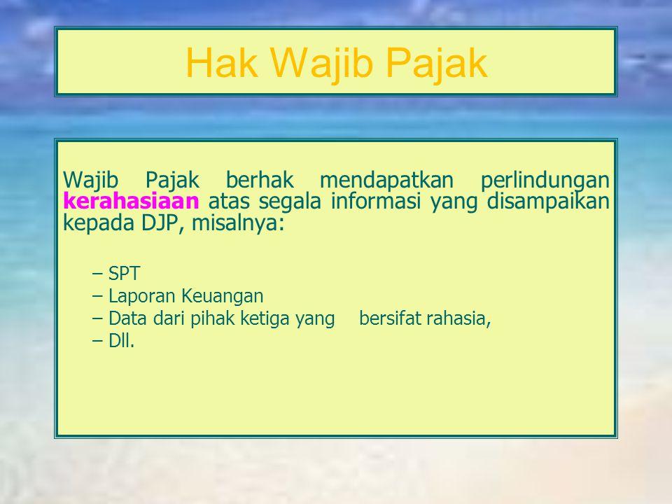 Hak Wajib Pajak Wajib Pajak dapat mengajukan keberatan secara tertulis kepada Dirjen Pajak paling lambat 3 bulan sejak tanggal surat ketetapan pajak.