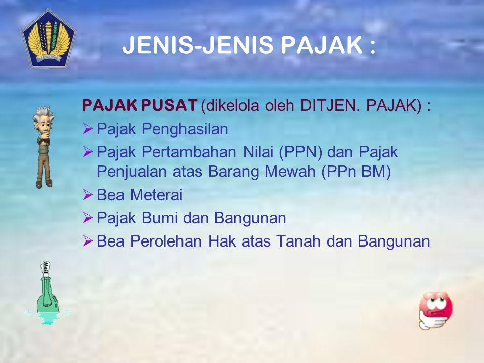 SISTEM PERPAJAKAN INDONESIA Sebelum reformasi Official assesment Reformasi Perpajakan Th.1983 Self-assessment System: Wajib Pajak diberikan kepercayaa