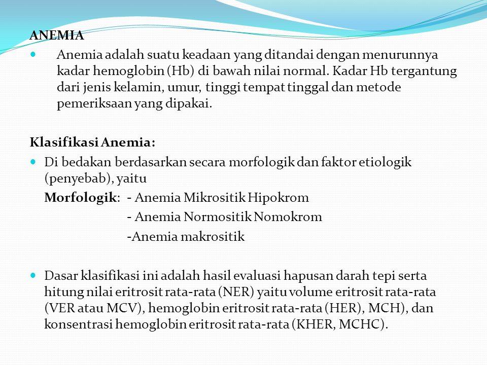 ANEMIA Anemia adalah suatu keadaan yang ditandai dengan menurunnya kadar hemoglobin (Hb) di bawah nilai normal.