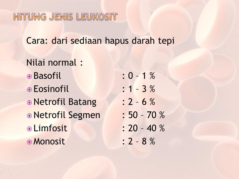 Cara: dari sediaan hapus darah tepi Nilai normal :  Basofil: 0 – 1 %  Eosinofil: 1 – 3 %  Netrofil Batang: 2 – 6 %  Netrofil Segmen: 50 – 70 %  L