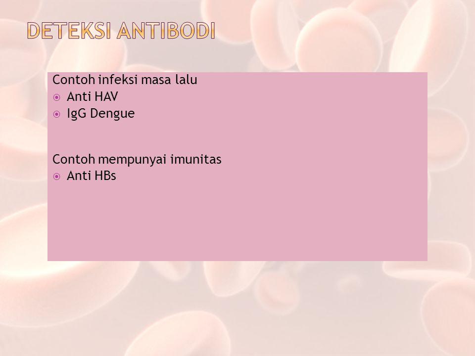 Contoh infeksi masa lalu  Anti HAV  IgG Dengue Contoh mempunyai imunitas  Anti HBs