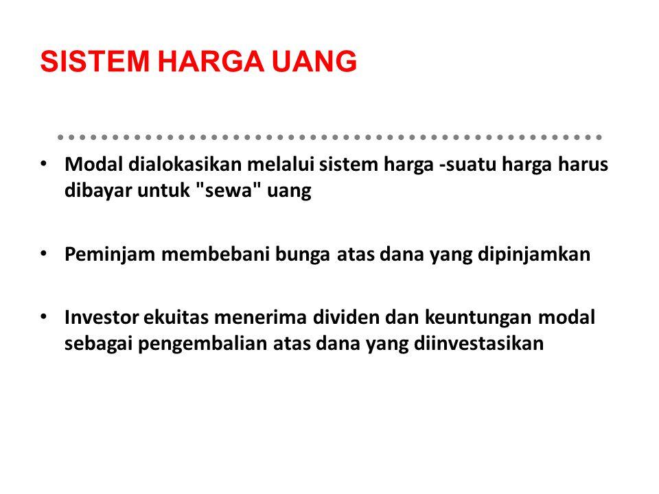 SISTEM HARGA UANG Modal dialokasikan melalui sistem harga -suatu harga harus dibayar untuk sewa uang Peminjam membebani bunga atas dana yang dipinjamkan Investor ekuitas menerima dividen dan keuntungan modal sebagai pengembalian atas dana yang diinvestasikan