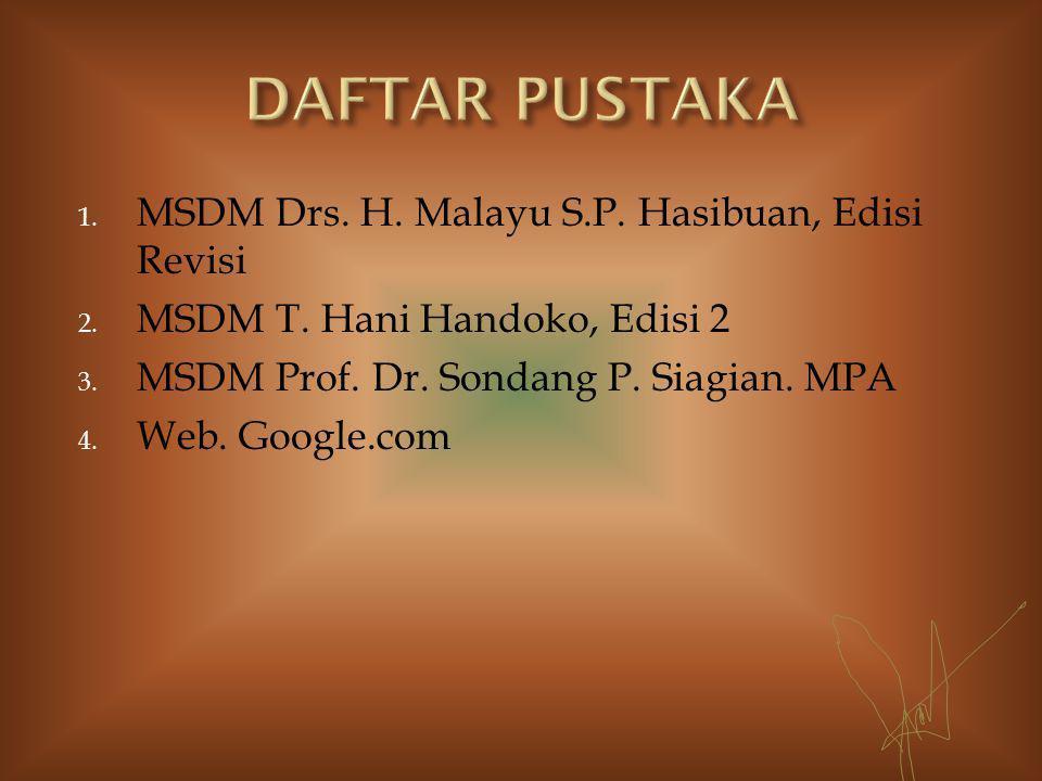 1. MSDM Drs. H. Malayu S.P. Hasibuan, Edisi Revisi 2.