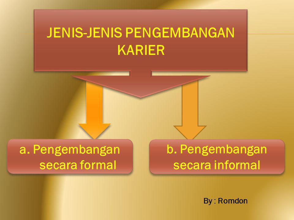 By : Romdon a. Pengembangan secara formal b. Pengembangan secara informal