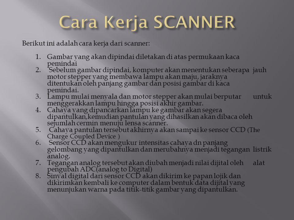 Berikut ini adalah cara kerja dari scanner: 1.Gambar yang akan dipindai diletakan di atas permukaan kaca pemindai 2. Sebelum gambar dipindai, komputer