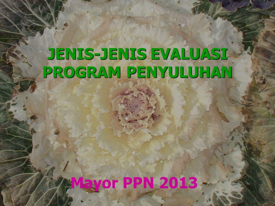 JENIS-JENIS EVALUASI PROGRAM PENYULUHAN Mayor PPN 2013