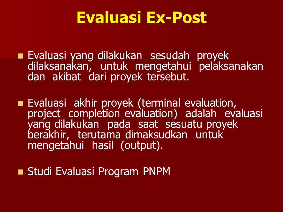 Evaluasi Ex-Post Evaluasi yang dilakukan sesudah proyek dilaksanakan, untuk mengetahui pelaksanakan dan akibat dari proyek tersebut. Evaluasi akhir pr