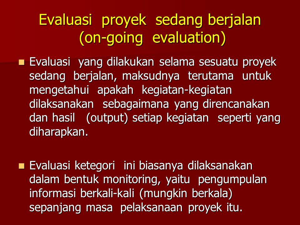 Evaluasi Dampak Evaluasi yang dilakukan beberapa waktu sesudah proyek berakhir, untuk mengetahui tentang efek (effects) dan impak (impacts) yang terjadi akibat dilaksanakannya sesuatu proyek.