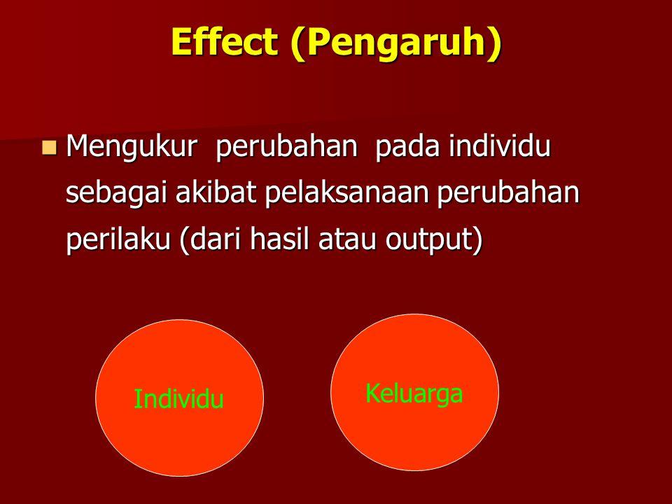 Effect (Pengaruh) Mengukur perubahan pada individu sebagai akibat pelaksanaan perubahan perilaku (dari hasil atau output) Mengukur perubahan pada indi