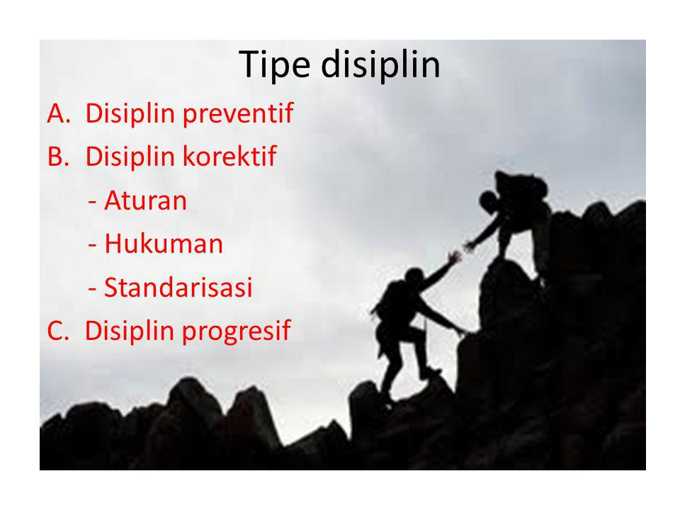 Tipe disiplin A.Disiplin preventif B.Disiplin korektif - Aturan - Hukuman - Standarisasi C. Disiplin progresif