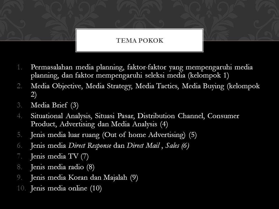 1.Permasalahan media planning, faktor-faktor yang mempengaruhi media planning, dan faktor mempengaruhi seleksi media (kelompok 1) 2.Media Objective, Media Strategy, Media Tactics, Media Buying (kelompok 2) 3.Media Brief (3) 4.Situational Analysis, Situasi Pasar, Distribution Channel, Consumer Product, Advertising dan Media Analysis (4) 5.Jenis media luar ruang (Out of home Advertising) (5) 6.Jenis media Direct Response dan Direct Mail, Sales (6) 7.Jenis media TV (7) 8.Jenis media radio (8) 9.Jenis media Koran dan Majalah (9) 10.Jenis media online (10) TEMA POKOK