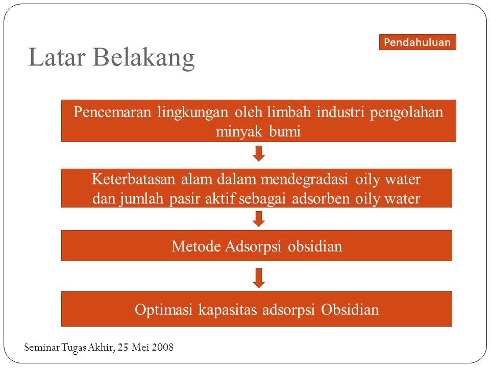 Latar Belakang Pencemaran lingkungan oleh limbah industri pengolahan minyak bumi Keterbatasan alam dalam mendegradasi oily water dan jumlah pasir akti