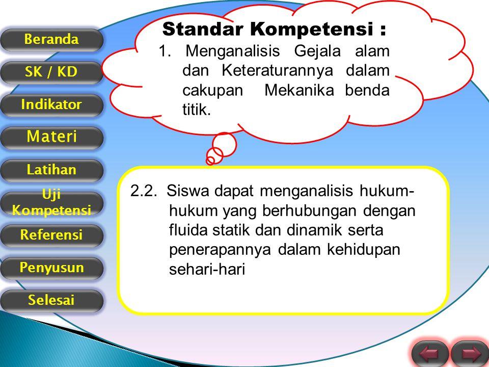 Beranda SK / KD Indikator Materi Latihan Uji Kompetensi Referensi Selesai Penyusun Indikator Pencapaian Memformulasikan hukum dasar fluida statik Menerapkan hukum dasar fluida statik pada masalah fisika sehari-hari
