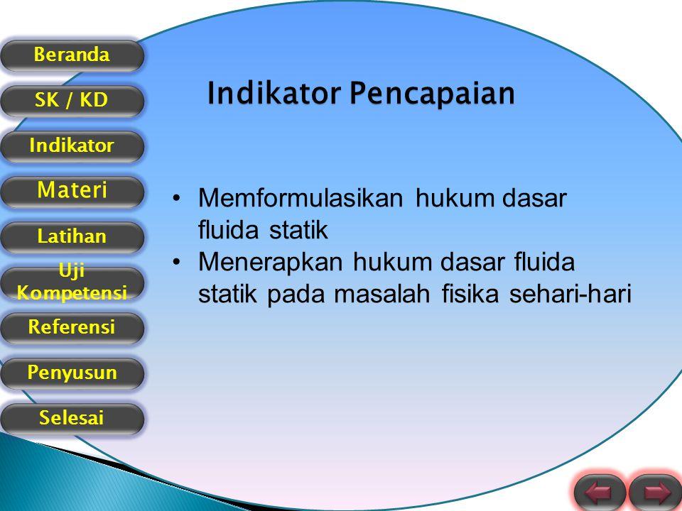 Beranda SK / KD Indikator Materi Latihan Uji Kompetensi Referensi Selesai Penyusun Indikator Pencapaian Memformulasikan hukum dasar fluida statik Mene
