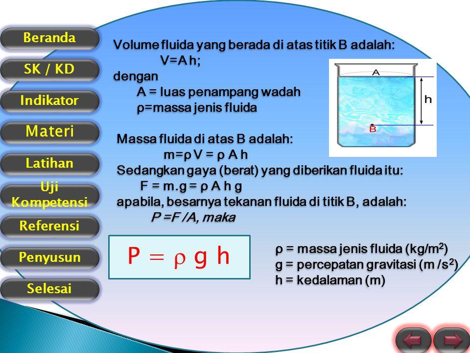 Beranda SK / KD Indikator Materi Latihan Uji Kompetensi Referensi Selesai Penyusun TEKANAN TOTAL Jika tekanan udara luar ikut diperhitungkan seperti pada gambar, besarnya tekanan total atau tekanan mutlak pada satu titik di dalam fluida adalah : P t = P o +  g h p 0 = tekanan udara luar = 1,013 × 105 N/m 2, p A = tekanan total di titik A (tekanan mutlak).
