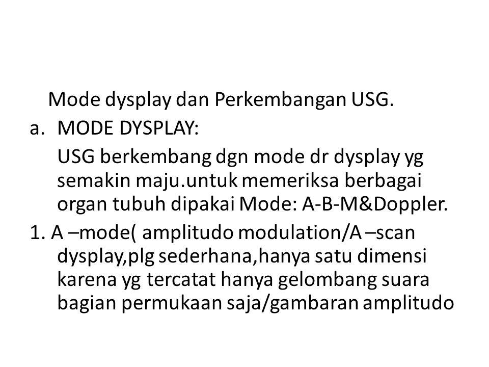Mode dysplay dan Perkembangan USG. a.MODE DYSPLAY: USG berkembang dgn mode dr dysplay yg semakin maju.untuk memeriksa berbagai organ tubuh dipakai Mod
