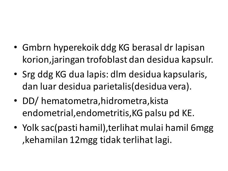 Gmbrn hyperekoik ddg KG berasal dr lapisan korion,jaringan trofoblast dan desidua kapsulr. Srg ddg KG dua lapis: dlm desidua kapsularis, dan luar desi