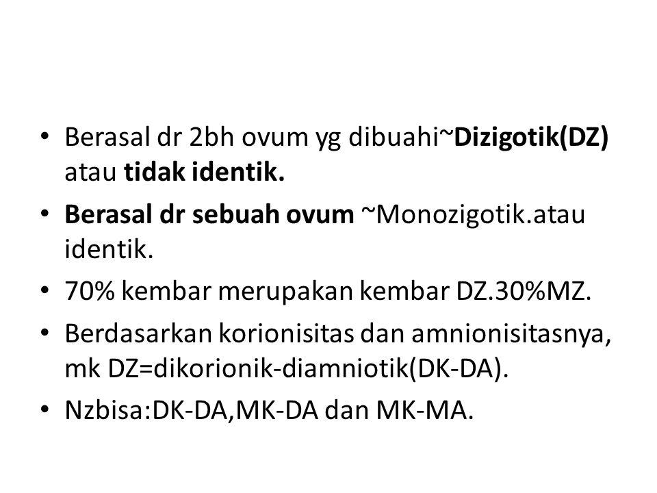 Berasal dr 2bh ovum yg dibuahi~Dizigotik(DZ) atau tidak identik. Berasal dr sebuah ovum ~Monozigotik.atau identik. 70% kembar merupakan kembar DZ.30%M