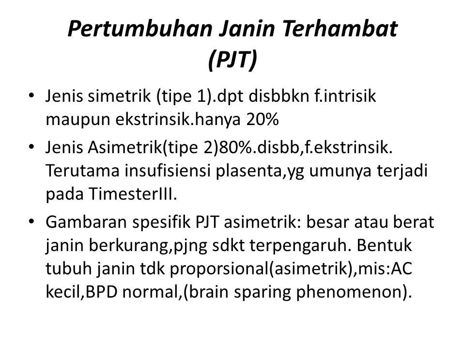 Pertumbuhan Janin Terhambat (PJT) Jenis simetrik (tipe 1).dpt disbbkn f.intrisik maupun ekstrinsik.hanya 20% Jenis Asimetrik(tipe 2)80%.disbb,f.ekstri