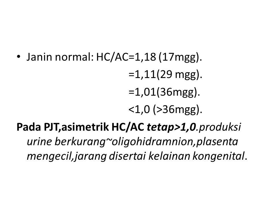 Janin normal: HC/AC=1,18 (17mgg). =1,11(29 mgg). =1,01(36mgg). 36mgg). Pada PJT,asimetrik HC/AC tetap>1,0.produksi urine berkurang~oligohidramnion,pla
