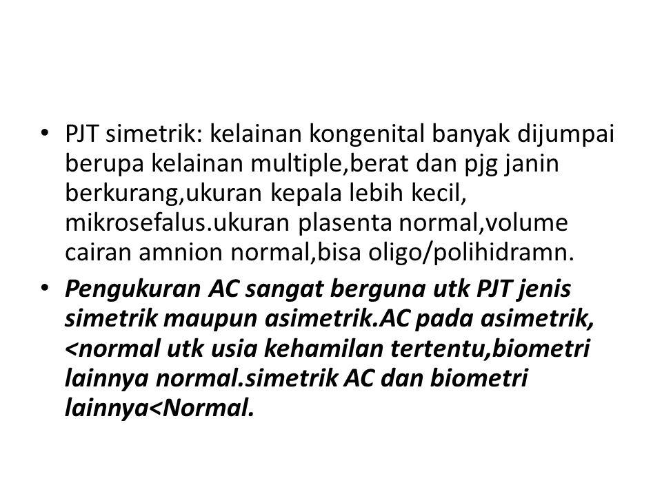 PJT simetrik: kelainan kongenital banyak dijumpai berupa kelainan multiple,berat dan pjg janin berkurang,ukuran kepala lebih kecil, mikrosefalus.ukura
