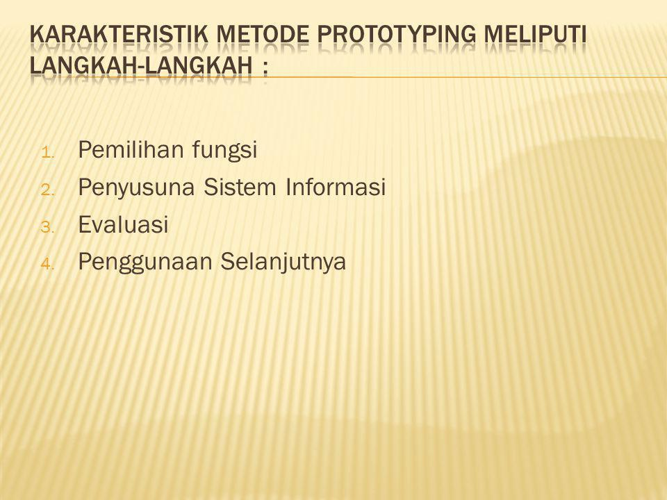 1. Pemilihan fungsi 2. Penyusuna Sistem Informasi 3. Evaluasi 4. Penggunaan Selanjutnya