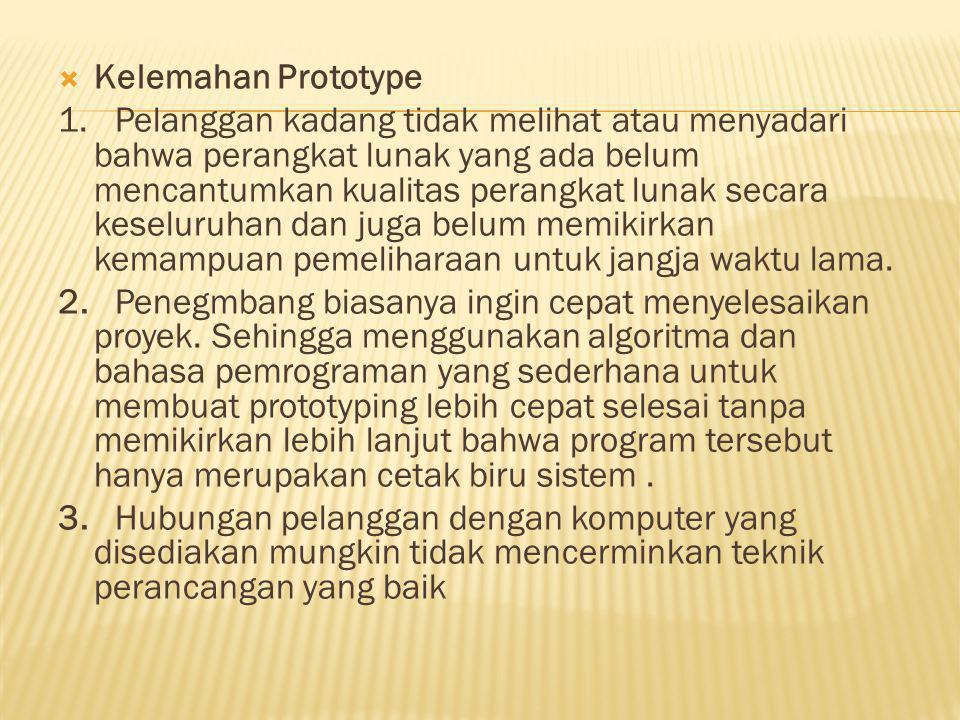  Kelemahan Prototype 1.