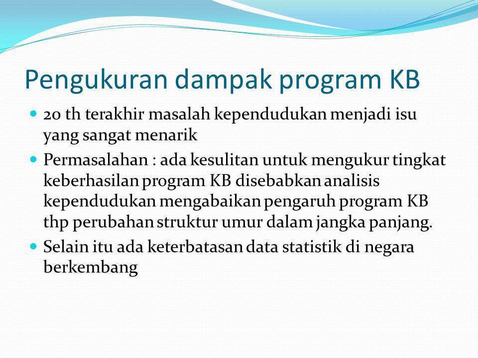 Pengukuran dampak program KB 20 th terakhir masalah kependudukan menjadi isu yang sangat menarik Permasalahan : ada kesulitan untuk mengukur tingkat keberhasilan program KB disebabkan analisis kependudukan mengabaikan pengaruh program KB thp perubahan struktur umur dalam jangka panjang.