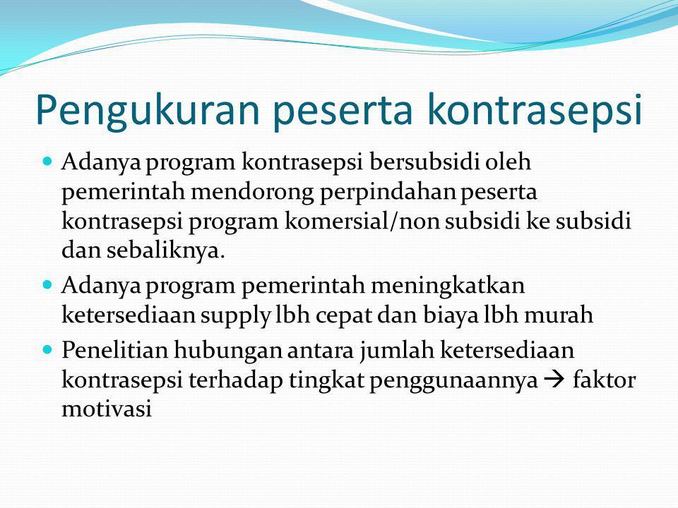Pengukuran peserta kontrasepsi Adanya program kontrasepsi bersubsidi oleh pemerintah mendorong perpindahan peserta kontrasepsi program komersial/non subsidi ke subsidi dan sebaliknya.