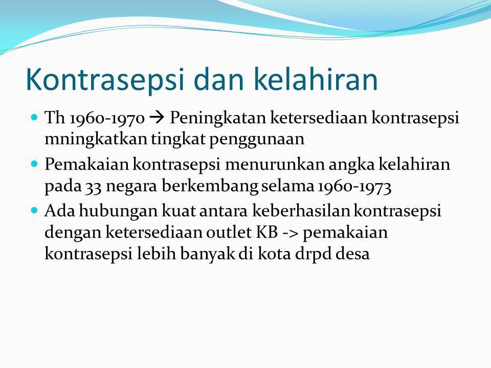 Kontrasepsi dan kelahiran Th 1960-1970  Peningkatan ketersediaan kontrasepsi mningkatkan tingkat penggunaan Pemakaian kontrasepsi menurunkan angka kelahiran pada 33 negara berkembang selama 1960-1973 Ada hubungan kuat antara keberhasilan kontrasepsi dengan ketersediaan outlet KB -> pemakaian kontrasepsi lebih banyak di kota drpd desa