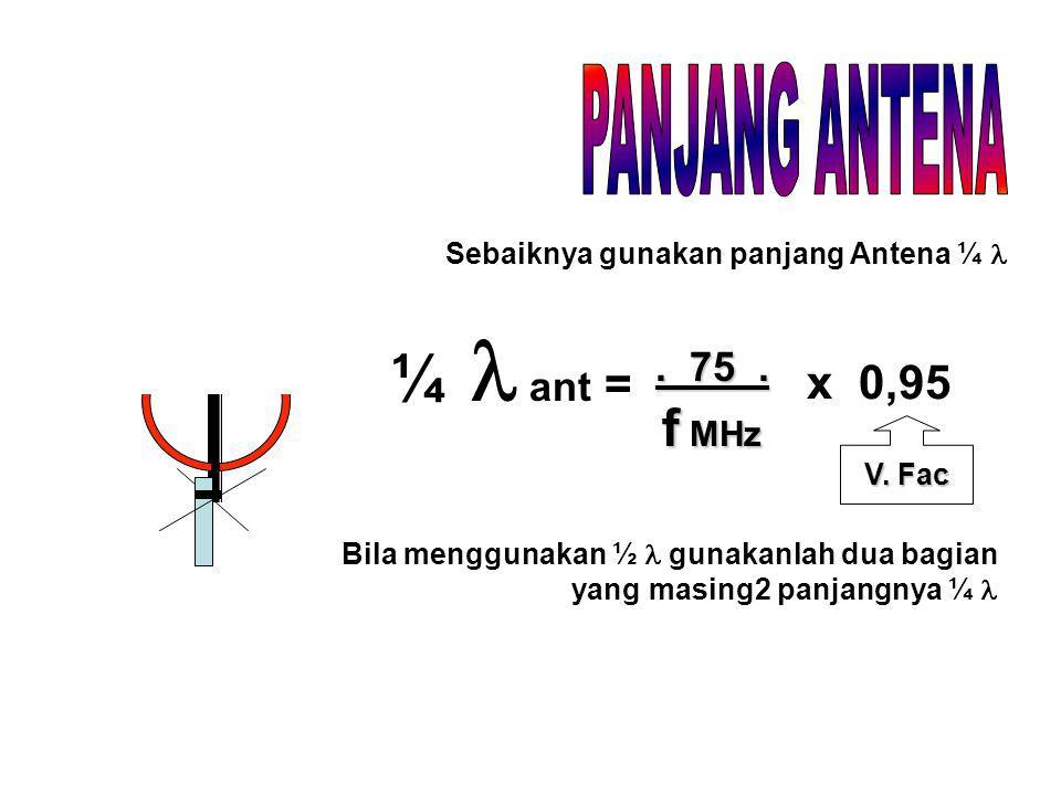 ¼ ant =. 75. f MHz x 0,95 V. Fac Sebaiknya gunakan panjang Antena ¼ Bila menggunakan ½ gunakanlah dua bagian yang masing2 panjangnya ¼