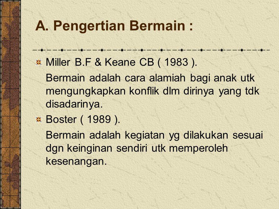 A. Pengertian Bermain : Miller B.F & Keane CB ( 1983 ). Bermain adalah cara alamiah bagi anak utk mengungkapkan konflik dlm dirinya yang tdk disadarin