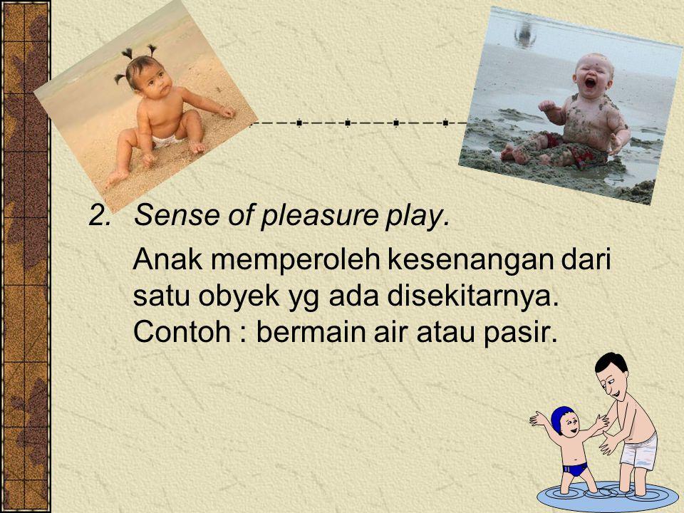 2.Sense of pleasure play. Anak memperoleh kesenangan dari satu obyek yg ada disekitarnya. Contoh : bermain air atau pasir.