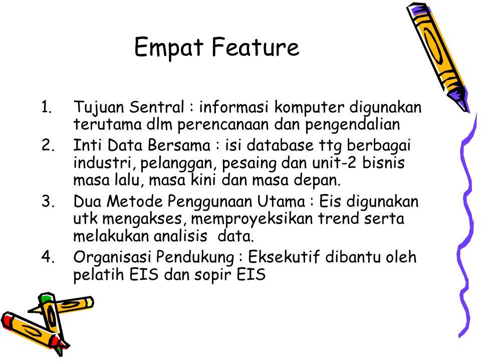 Empat Feature 1.Tujuan Sentral : informasi komputer digunakan terutama dlm perencanaan dan pengendalian 2.Inti Data Bersama : isi database ttg berbaga
