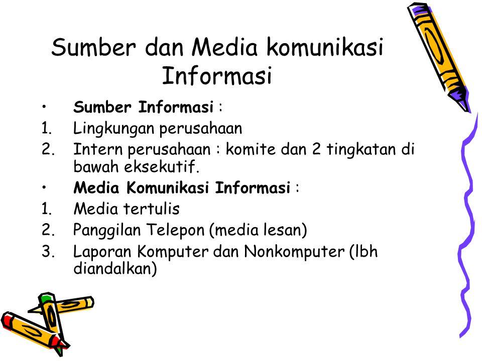Sumber dan Media komunikasi Informasi Sumber Informasi : 1.Lingkungan perusahaan 2.Intern perusahaan : komite dan 2 tingkatan di bawah eksekutif. Medi