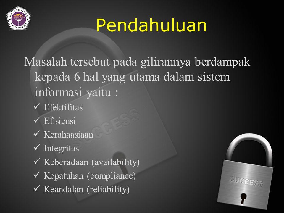 Pendahuluan Sehingga pembicaraan tentang keamanan sistem tersebut maka kita akan berbicara 2 masalah utama yaitu : 1.Threats (Ancaman) atas sistem dan 2.Vulnerability (Kelemahan) atas sistem