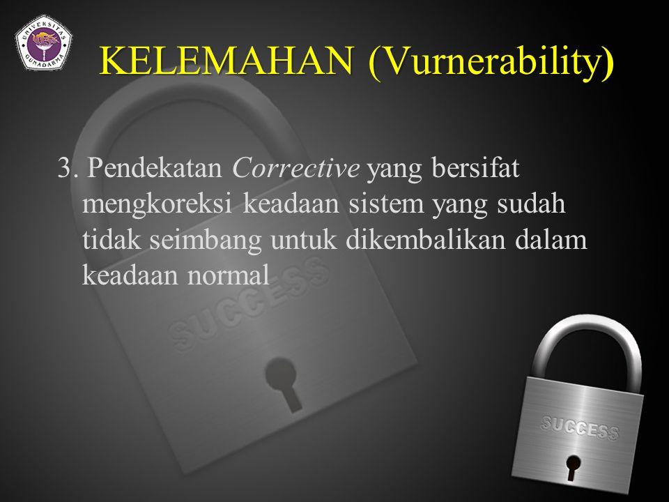 KELEMAHAN (Vurnerability) Suatu pendekatan keamanan sistem informasi minimal menggunakan 3 pendekatan, yaitu : 1.