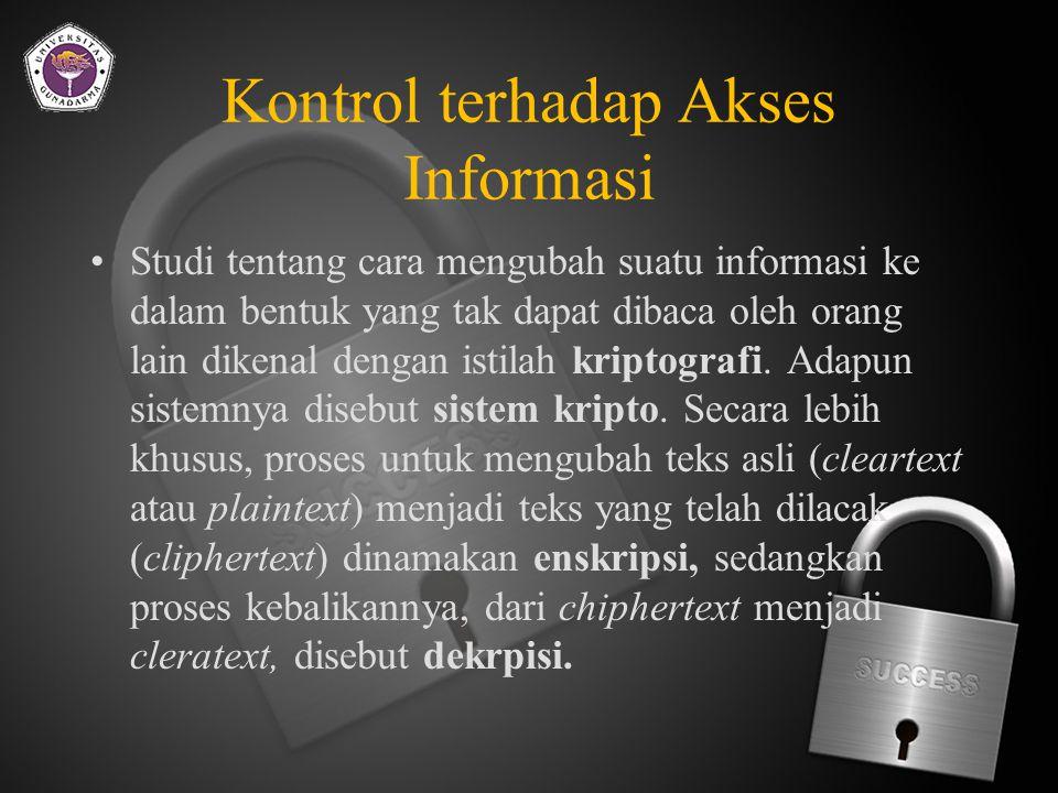 Kontrol terhadap Akses Informasi Ada kemungkinan bahwa seseorang yang tak berhak terhadap suatu informasi berhasil membaca informasi tersebut melalui jaringan (dengan menggunakan teknik sniffer).