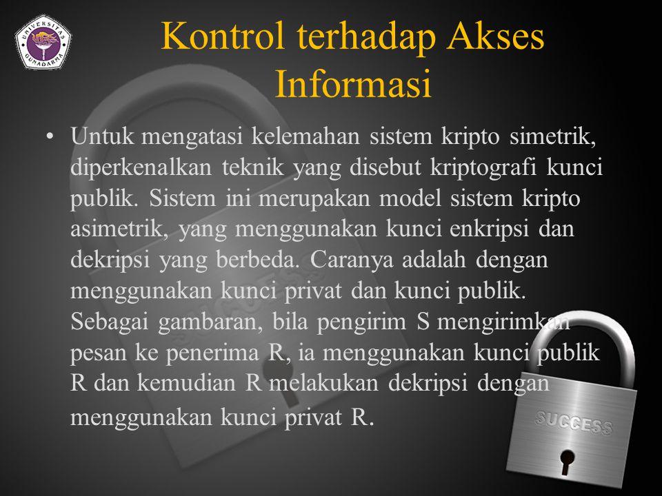Kontrol terhadap Akses Informasi Sistem DES yang menggunakan kunci privat memiliki kelemahan yang terletak pada keharusan untuk mendistribusikan kunci ini.