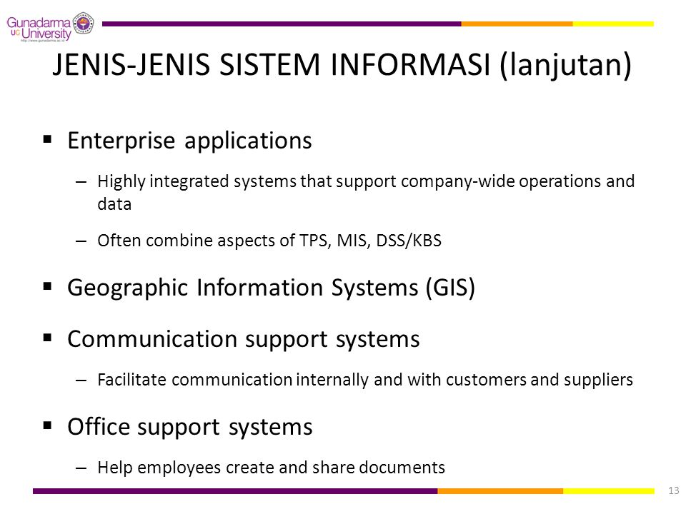 JENIS-JENIS SISTEM INFORMASI (lanjutan)  Enterprise applications – Highly integrated systems that support company-wide operations and data – Often co