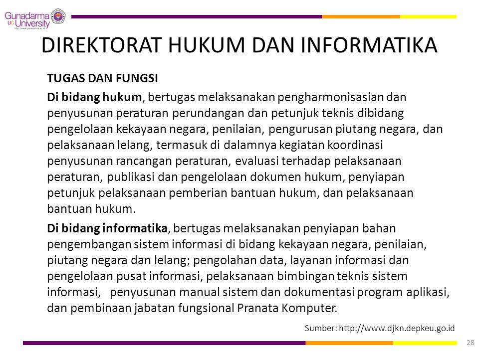 DIREKTORAT HUKUM DAN INFORMATIKA TUGAS DAN FUNGSI Di bidang hukum, bertugas melaksanakan pengharmonisasian dan penyusunan peraturan perundangan dan pe
