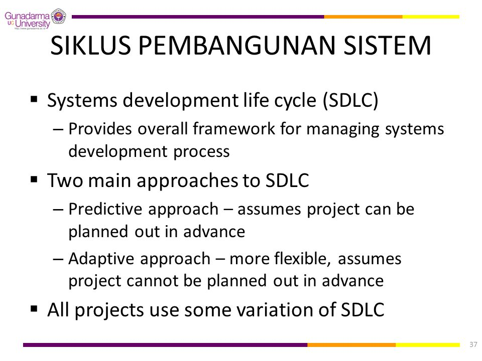 SIKLUS PEMBANGUNAN SISTEM  Systems development life cycle (SDLC) – Provides overall framework for managing systems development process  Two main app
