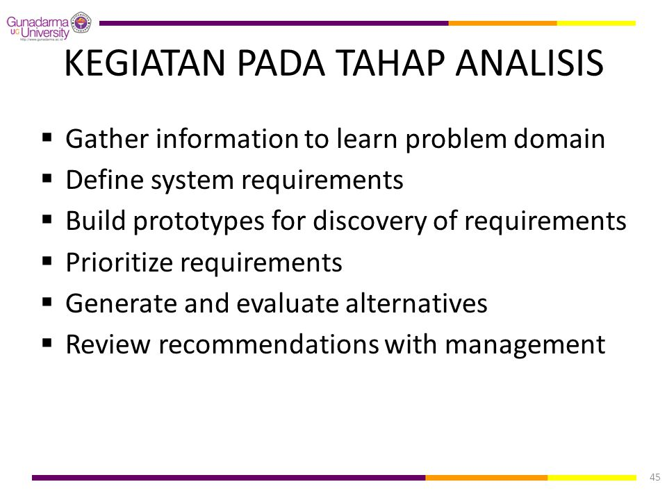 KEGIATAN PADA TAHAP ANALISIS  Gather information to learn problem domain  Define system requirements  Build prototypes for discovery of requirement