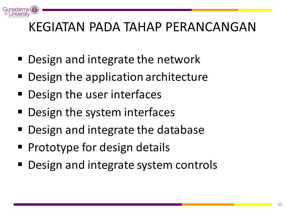 KEGIATAN PADA TAHAP PERANCANGAN  Design and integrate the network  Design the application architecture  Design the user interfaces  Design the sys